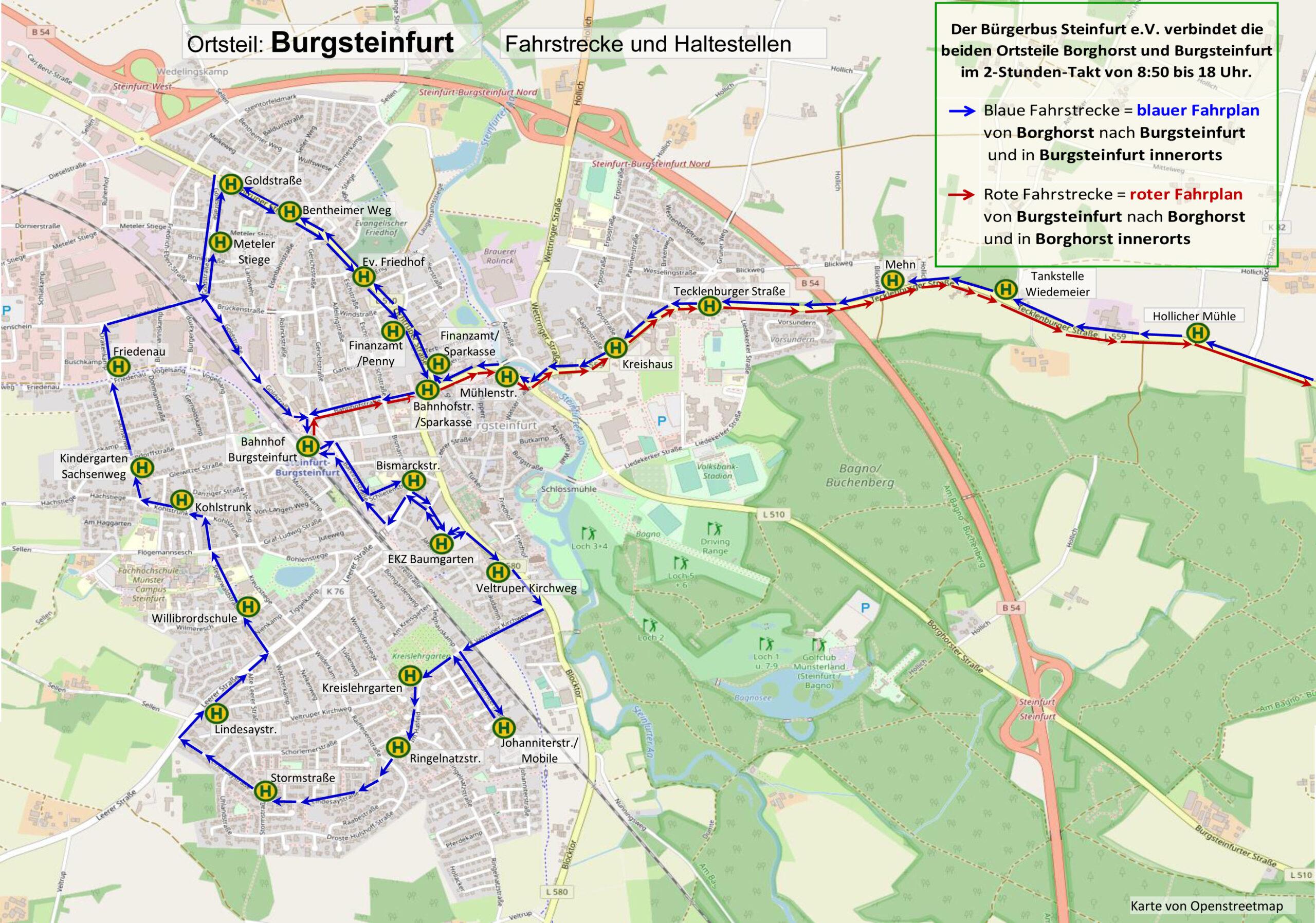 Fahrstrecke Burgsteinfurt