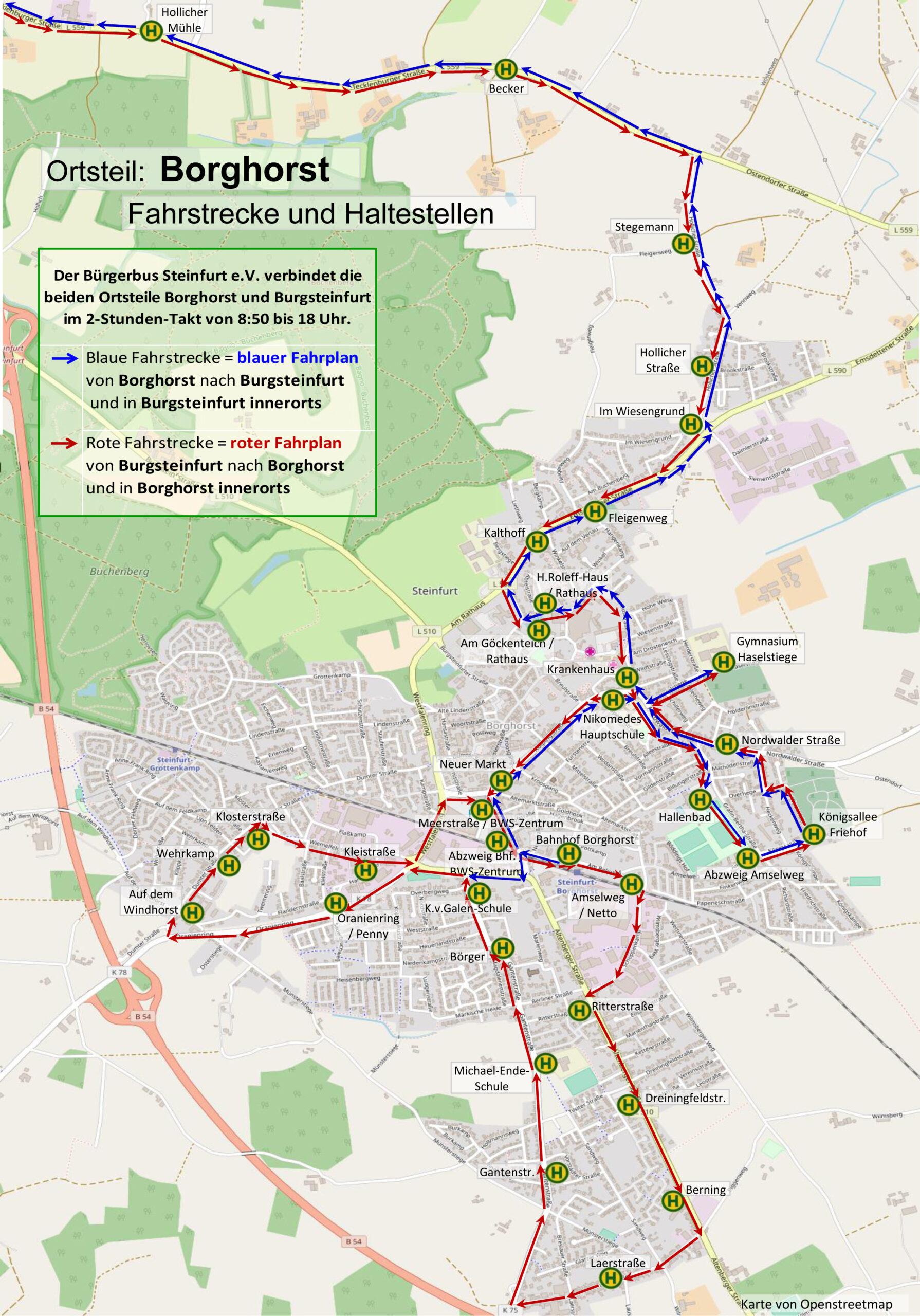 Fahrstrecke Borghorst